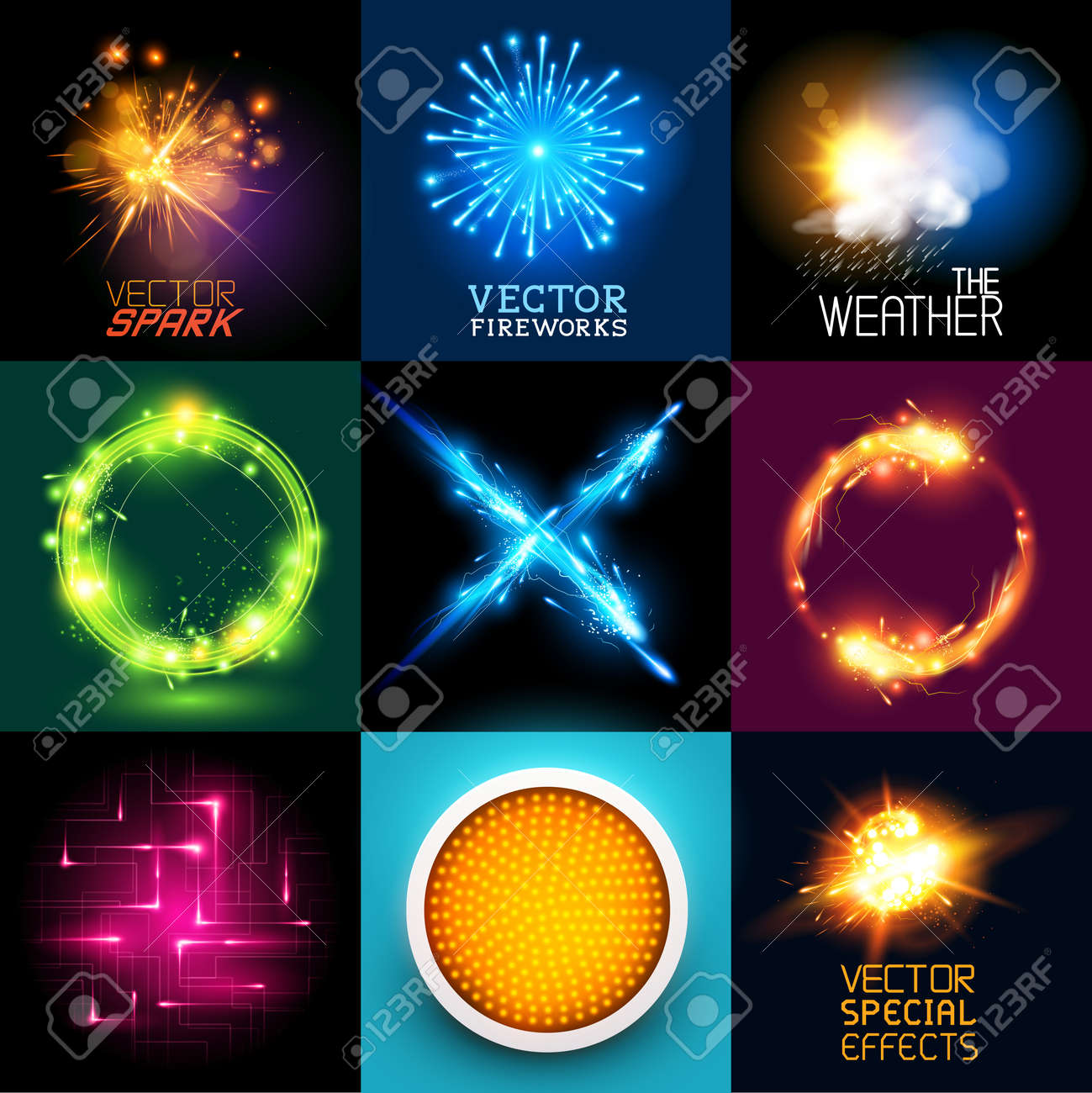 Vector special effects Collection  Set of various light effects and symbols Stock Vector - 28100281