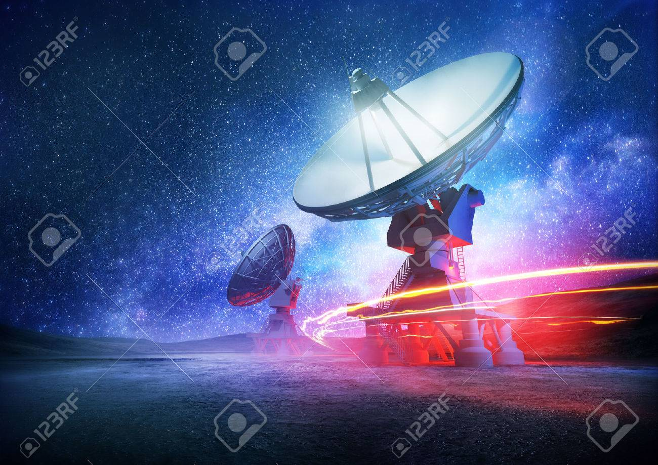 Astronomy deep space radio telescope arrays at night pointing into space. The milky way sets the background. Illustration. - 40558088