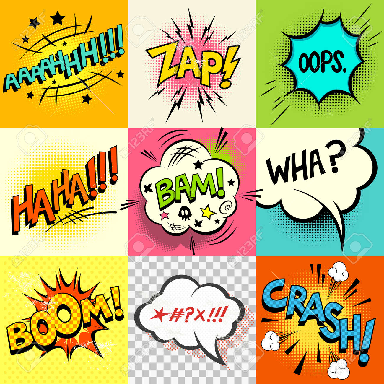 Comic Book ExpressionsA Set Of Speech Bubbles And Expression Words Vector