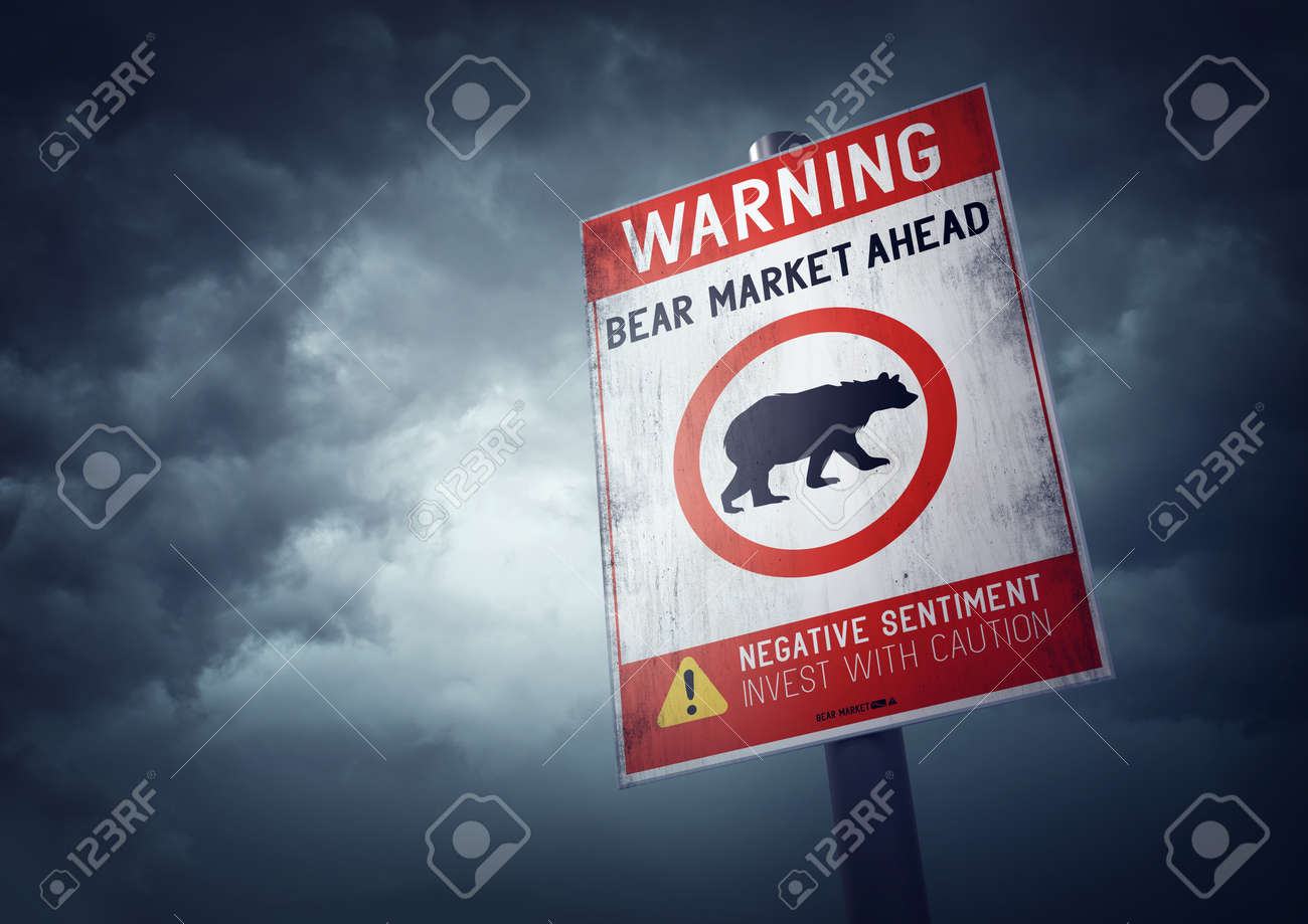 Bear stock market warning sign with growing storm clouds. - 53023450