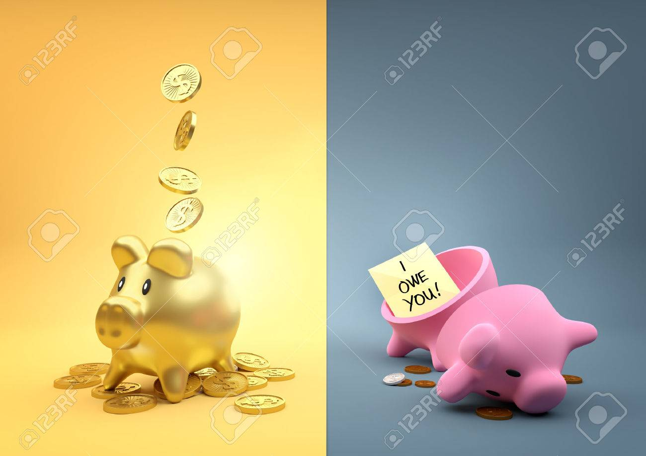 Different Fortunes. Two money piggy banks - One full of gold the other empty other than a few pennies. - 53023546