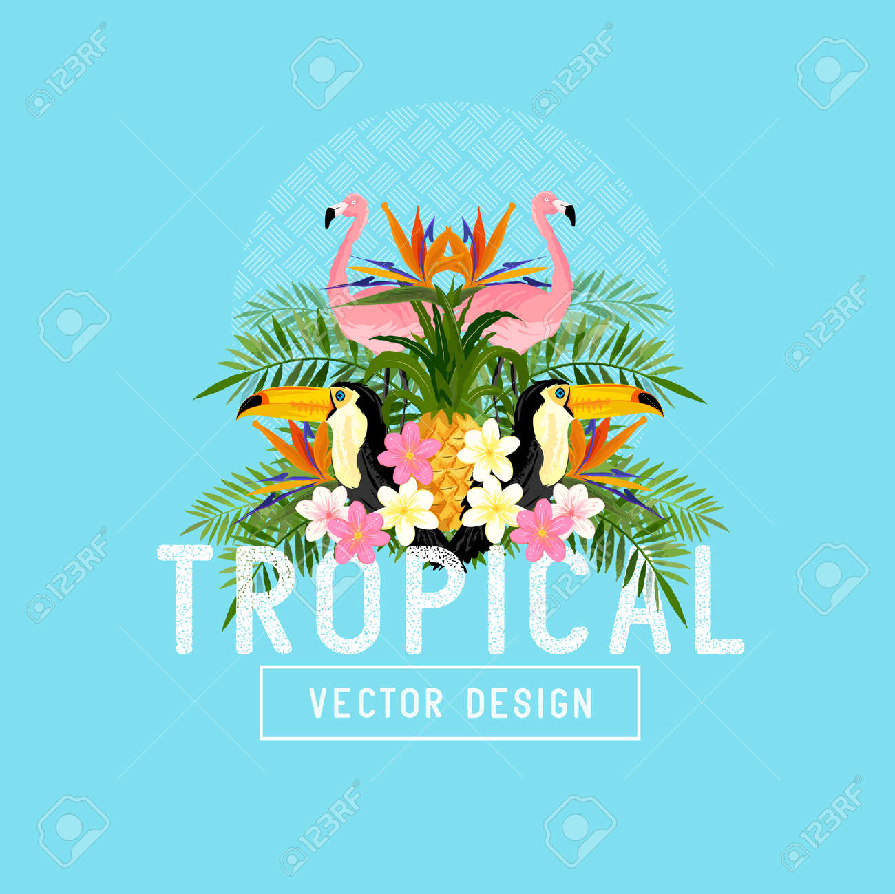 Tropical Summer Vector. Tropic elements including flamingos, Palms, Toucans, Bird of paradise flowers and pineapples - 54312263
