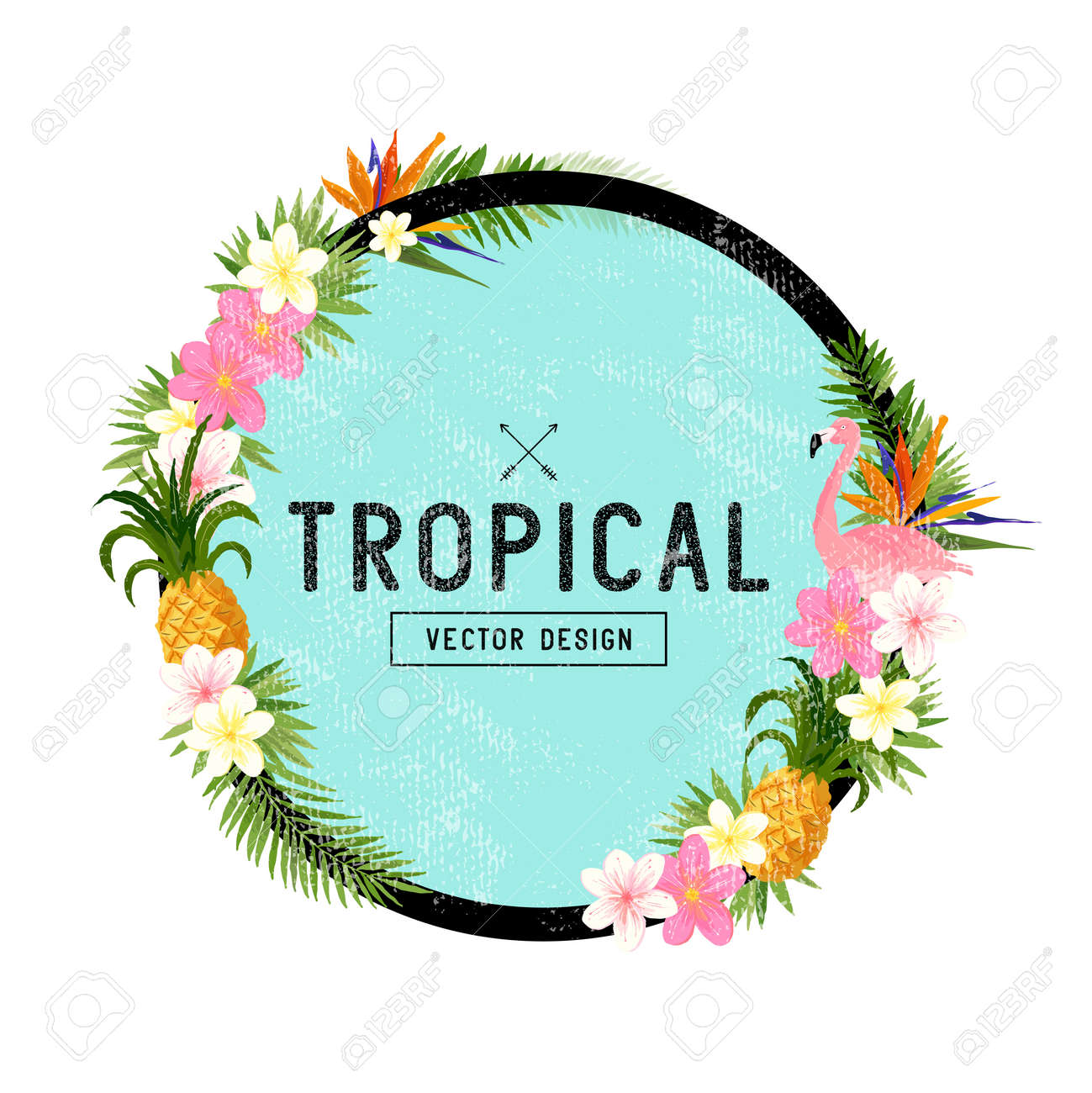 Tropical Border Design. tropical hand drawn elements including bird of paradise flower, flamingo bird and tropical floral elements. - 54312285