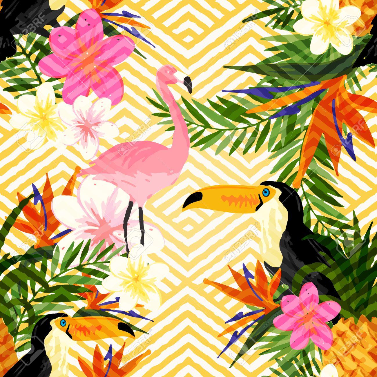 tropical geometric summer tropical summer seamless pattern