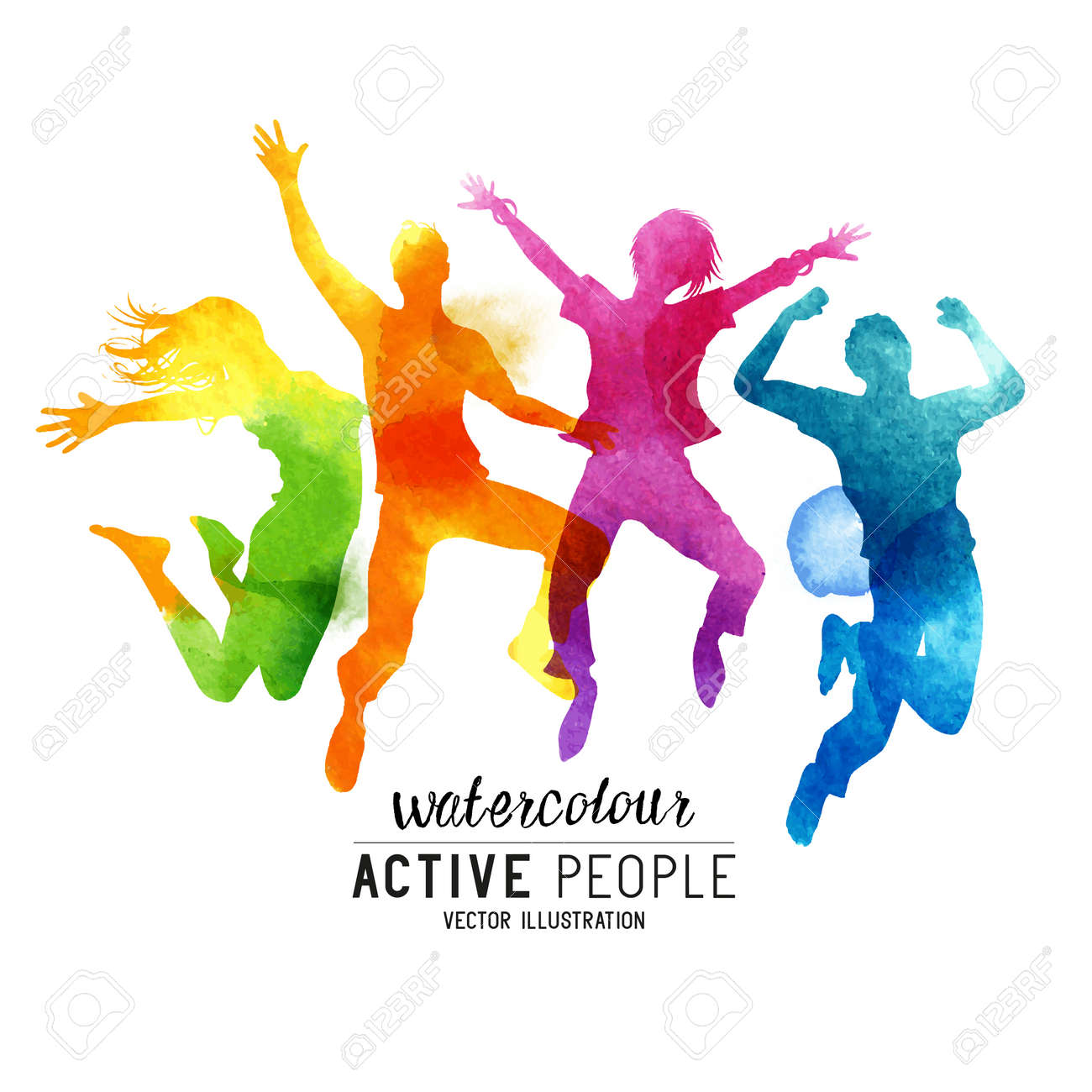 Watercolour Jumping People Vector. A group of freinds jumping into the air. Vector illustration. - 55683591