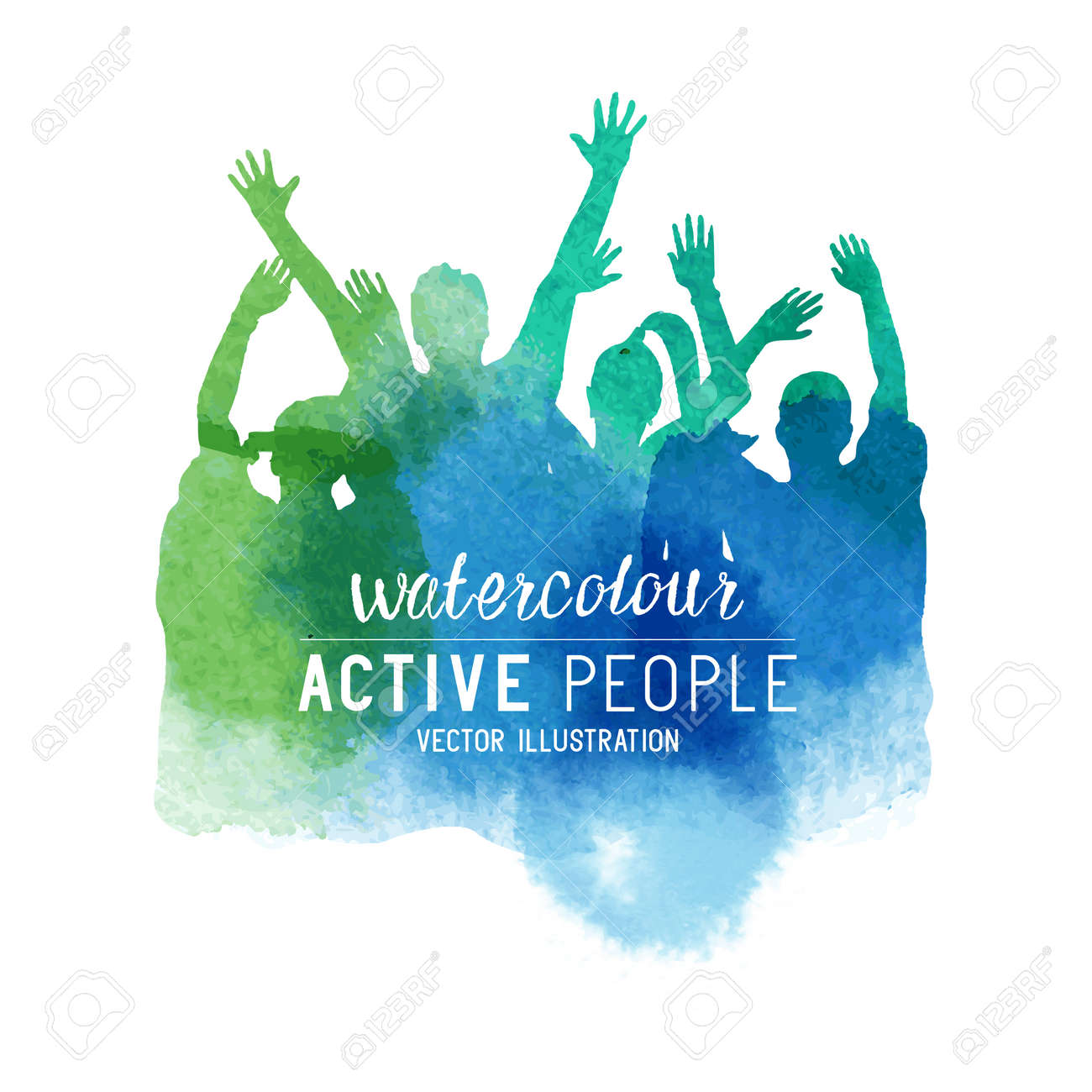 Watercolour Cheering Crowd of People. Group of people in watercolour effect, vector illustration. - 55683594