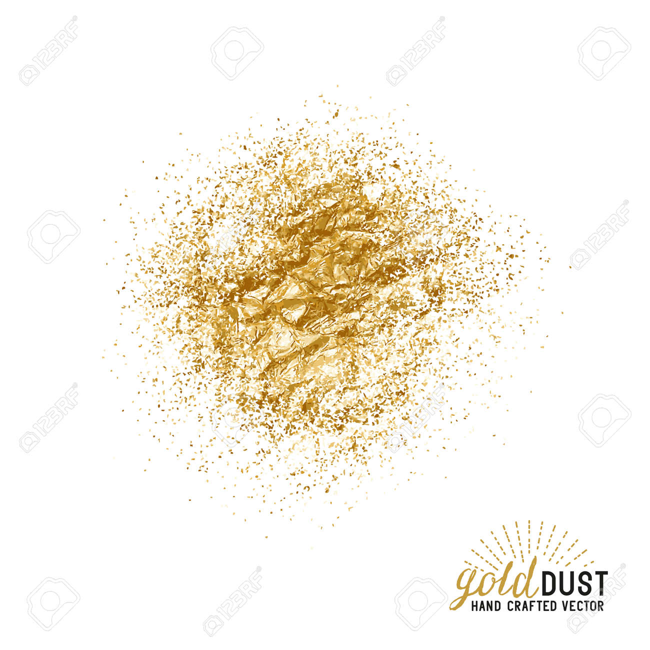 Vector Gold Dust. Foil gold dust particles. Vector illustration. - 55683631