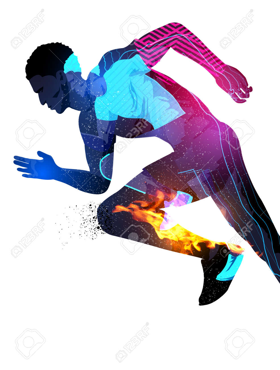 Double exposure effect illustration of a running sports man with texture effects. - 60773936