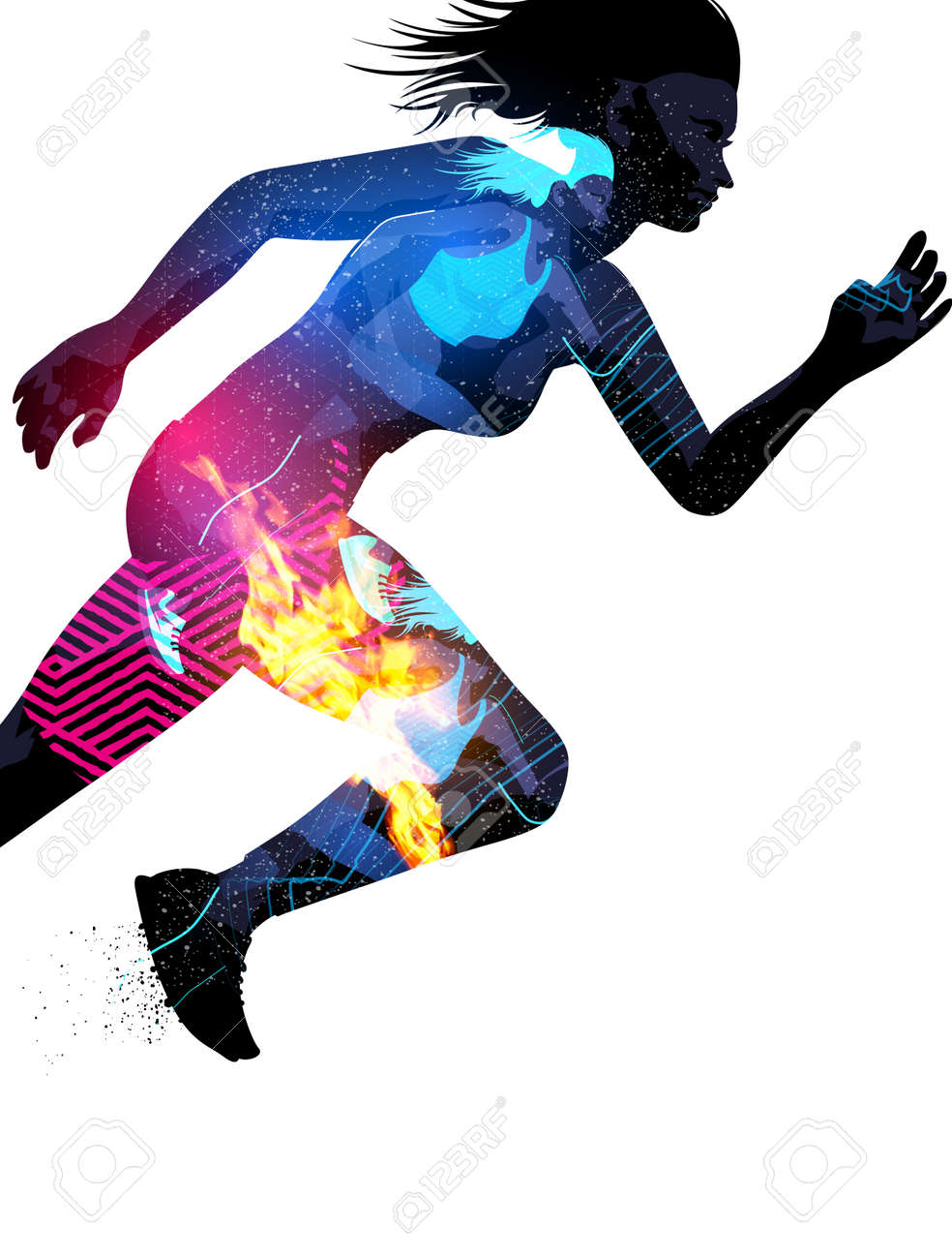 Double exposure effect illustration of a running sports woman with texture effects. - 60773933