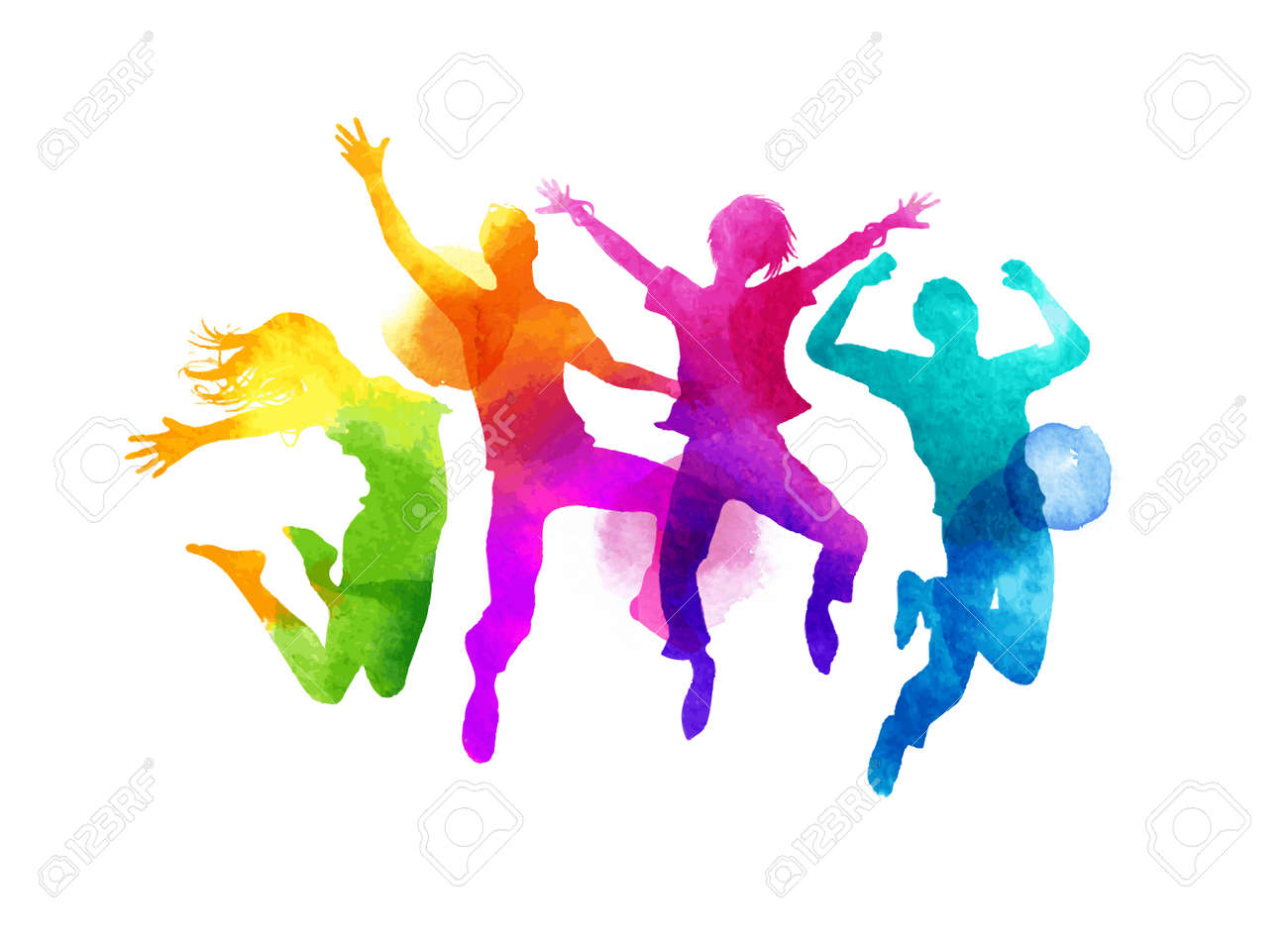 A group of friends jumping expressing happiness. Watercolour illustration. - 60773943