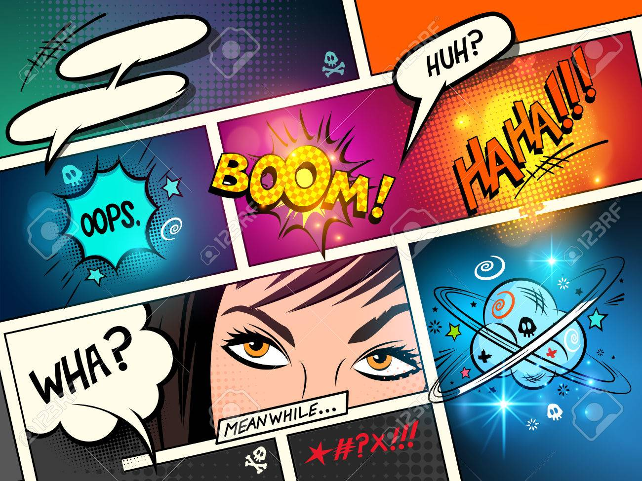 Speech Bubbles on a comic strip background with cartoon actions. vector illustration - 64214356