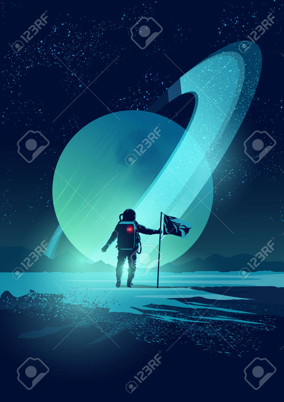 An Astronaut plants a flag on a distant planet set against a gas giant ringed planet. Vector illustration - 64214360