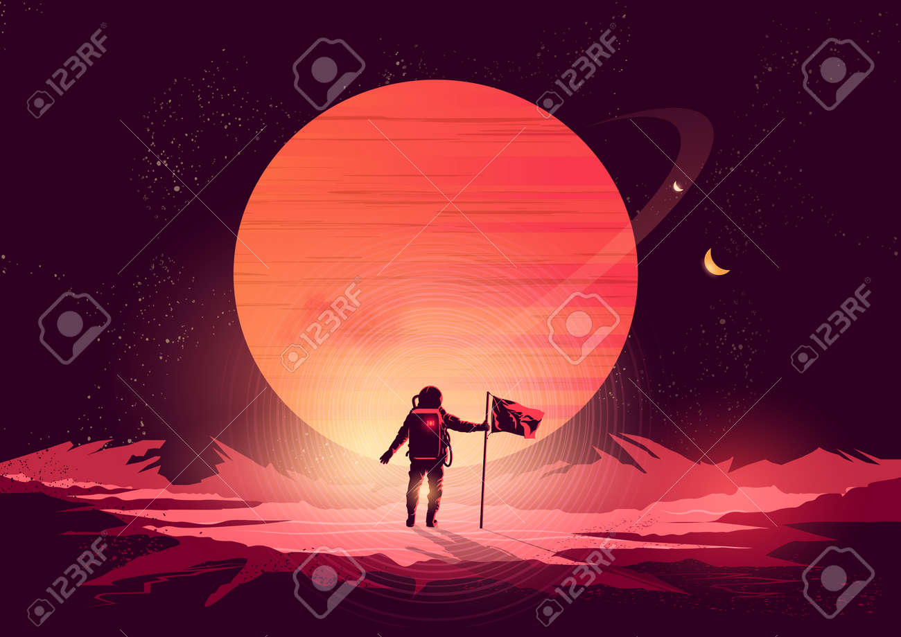 Spaceman Adventure - an astronaut exploring a new planet. Vector illustration. - 64214431