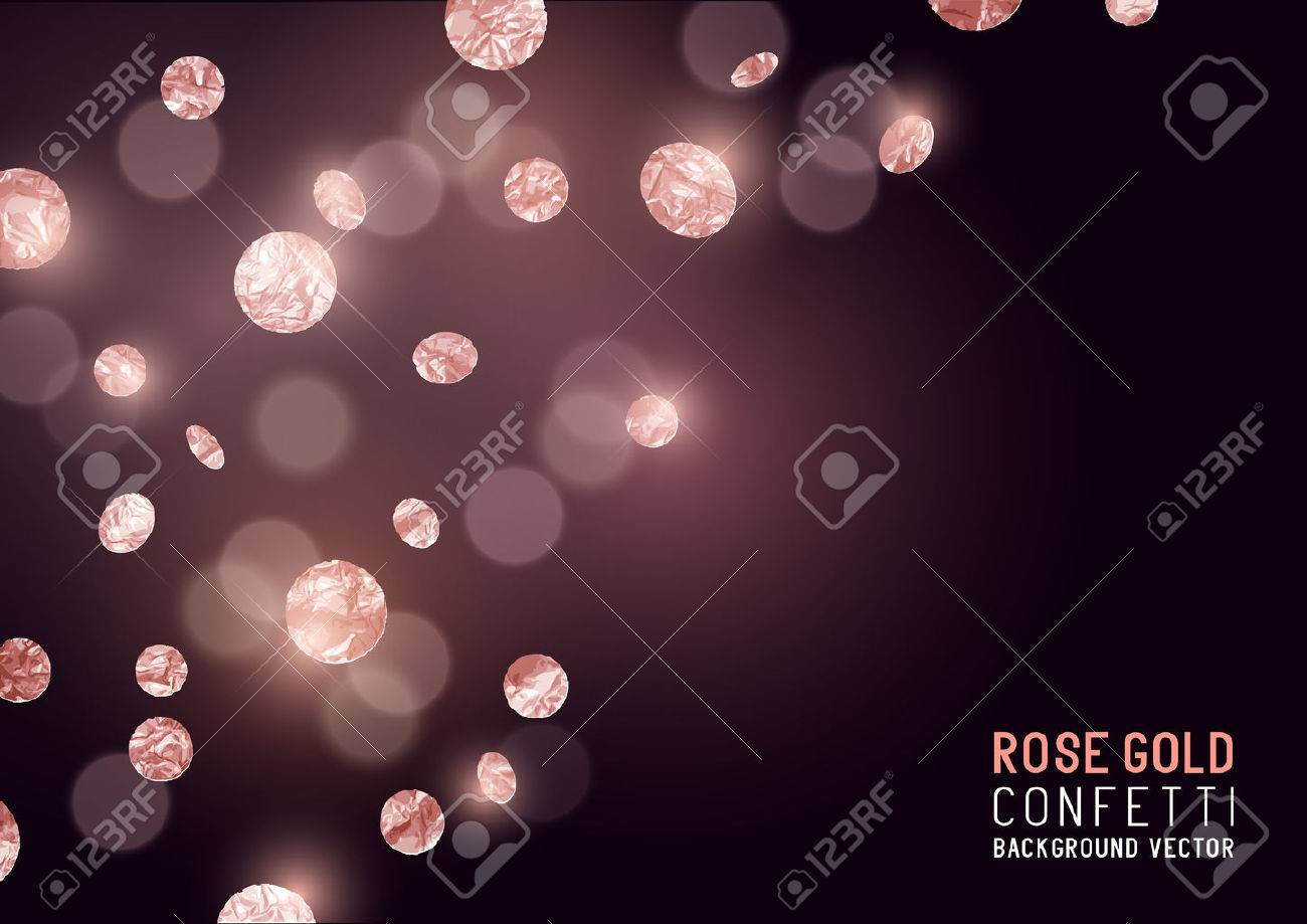 Large Rose Gold glitter Confetti party background. Vector illustration - 69010261