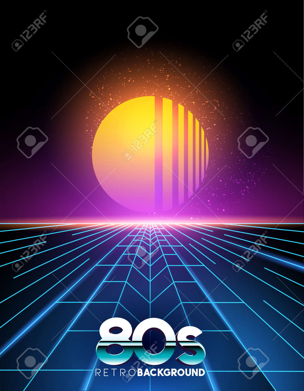 retro 1980's style neon digital abstract background with laser beams and a sunset. - 70737527