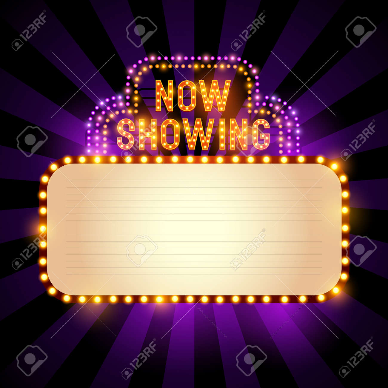 Vintage theatre / cinema sign with lights and room for text. Vector illustration - 70737532