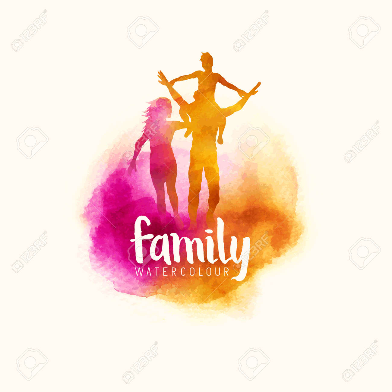 watercolour style family, Parents having fun with their child. vector illustration - 70737573