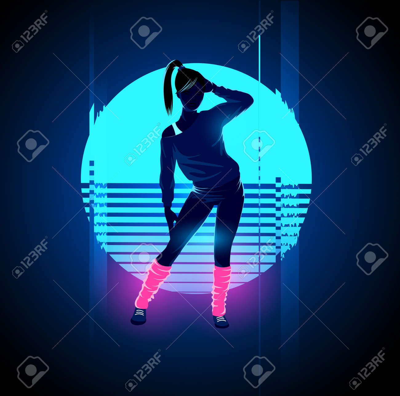 Retro 1980's glowing neon dancing lady with glitch sunset background. Vector illustration Standard-Bild - 72483231