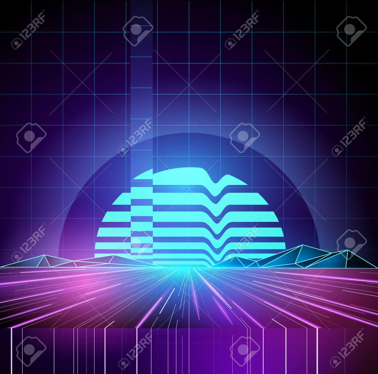 Retro 1980s Neon future background horizon. Vector illustration - 72483345