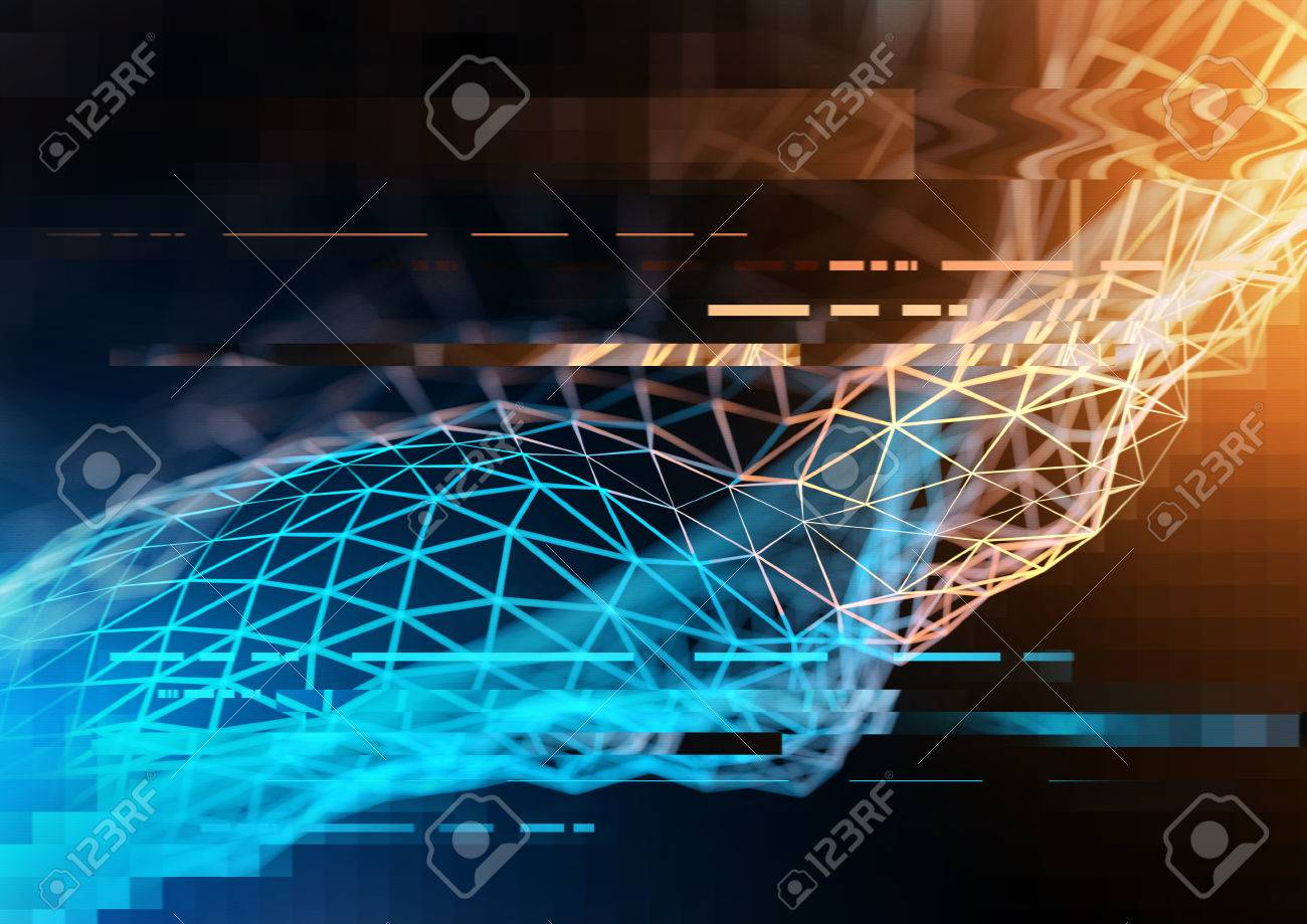 Complex technology network concept with big data and information visualized in polygons. 3D Illustration - 72279334