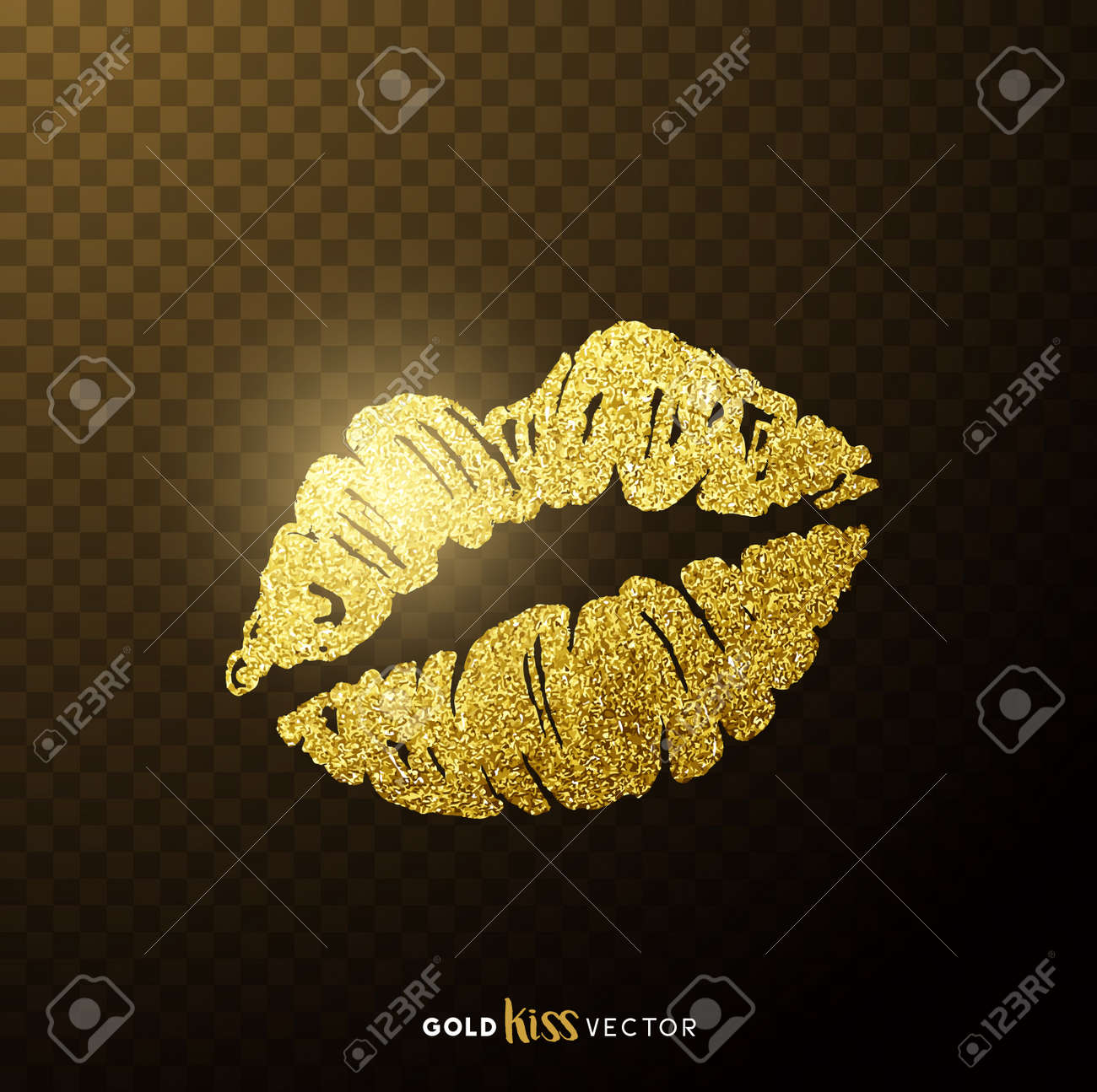 Gold and glittering glamorous kissing shaped lips. - 74704004