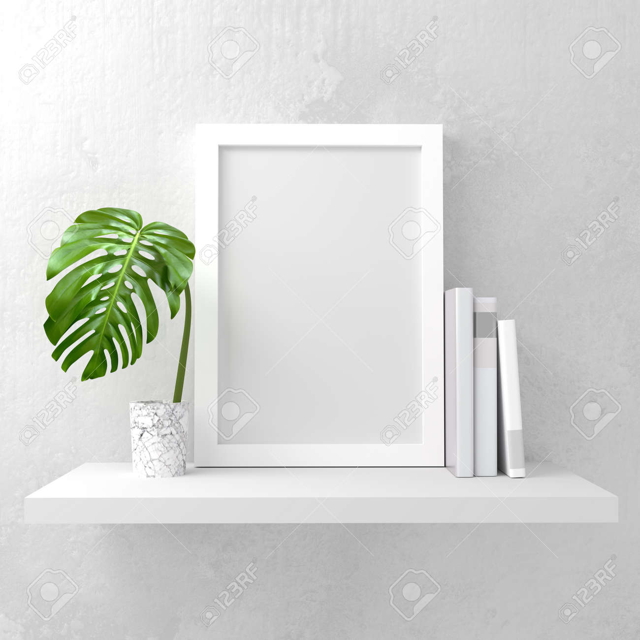 A Photo Frame Mock Up On A White Shelf. Clean And Minimal Design ...