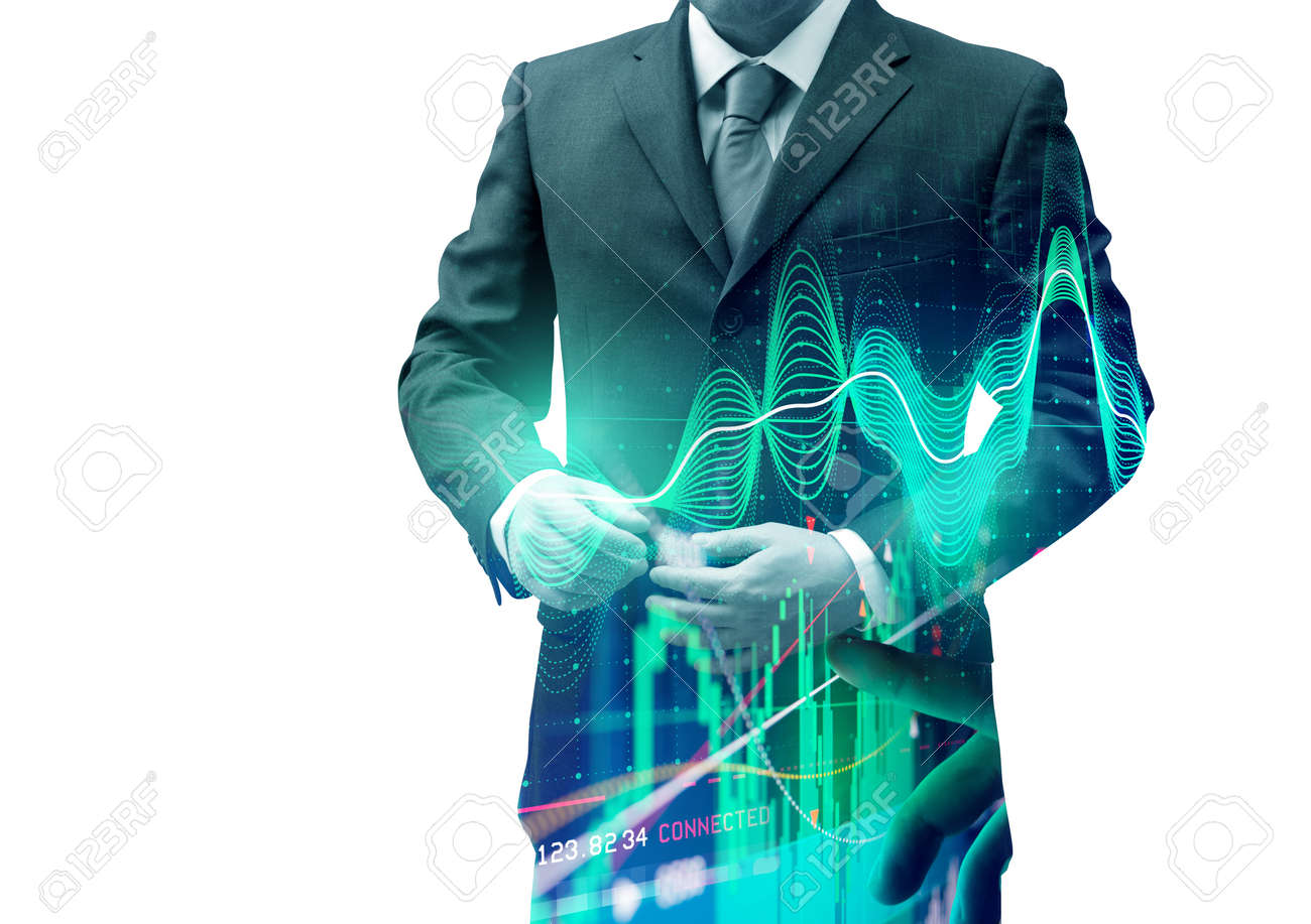 Double exposure businessman with stocks and shares. Investing background. - 84502019
