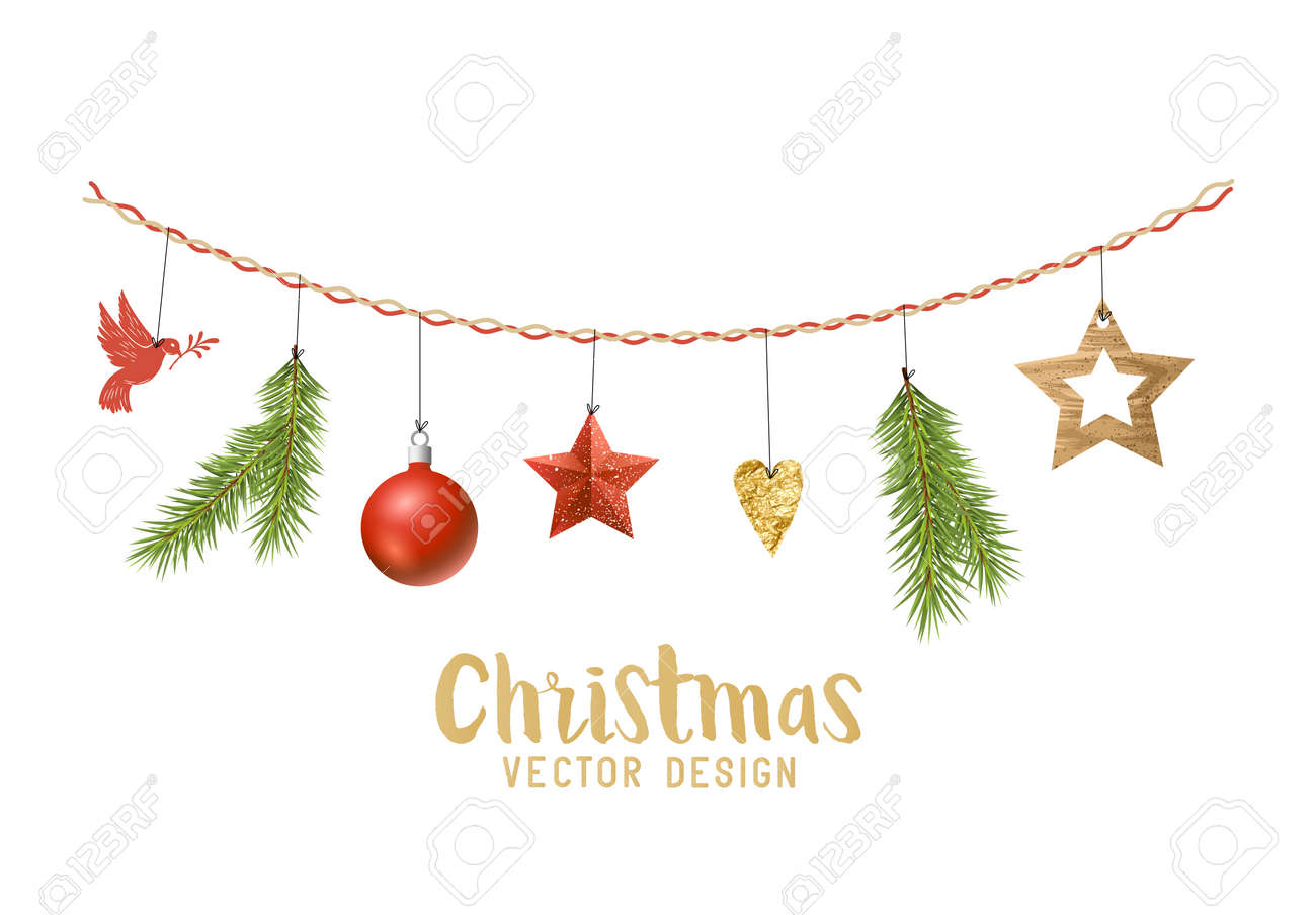 Hanging Christmas Decorations.Hanging Christmas Decorations Composition With Fir Tree Branches