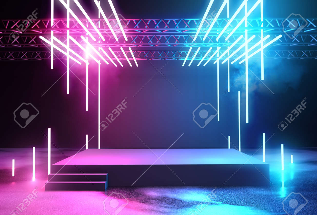 Stage with neon lighting background with blank platform for concert or product placement. 3D illustration. - 100746261