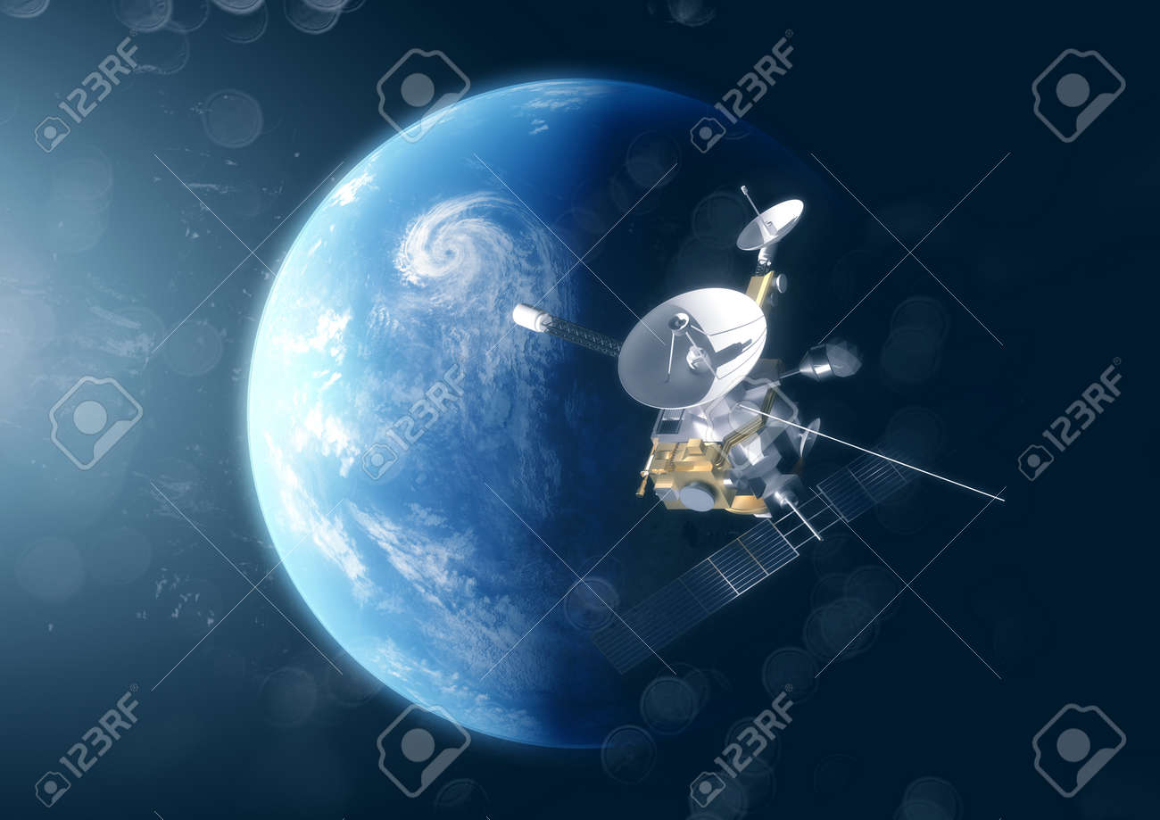 A satellite probe in space above the planet earth. 3D Illustration. - 100988956