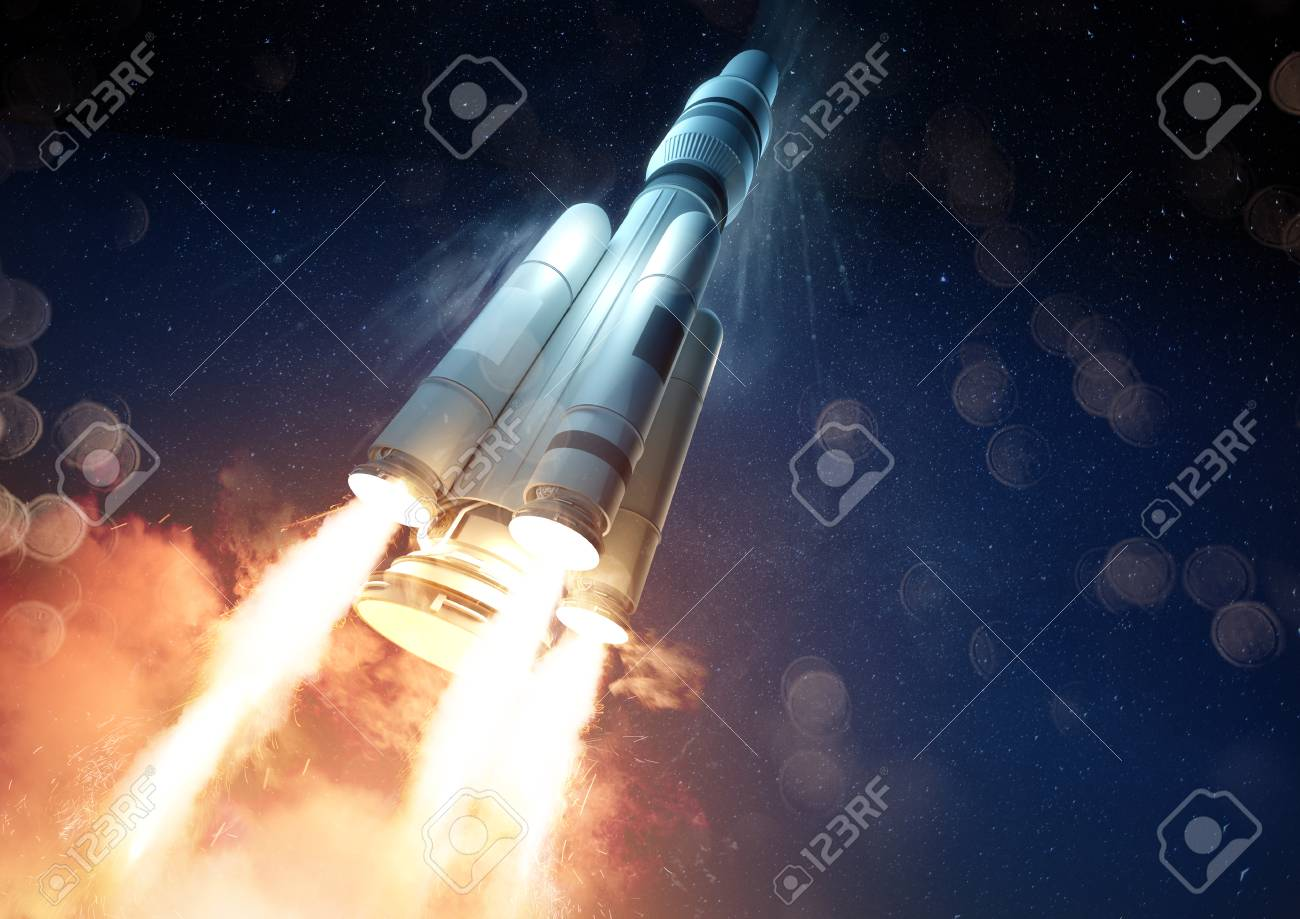 An extreme angle of a rocket launching a probe into space. 3D illustration. - 106506033