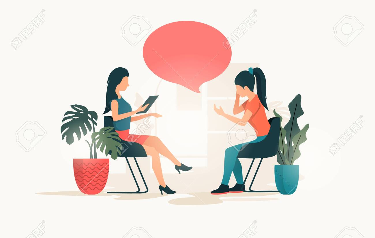 A Young Women Talking To A Therapist About Her Issues And Wellbeing...  Royalty Free Cliparts, Vectors, And Stock Illustration. Image 124294972.