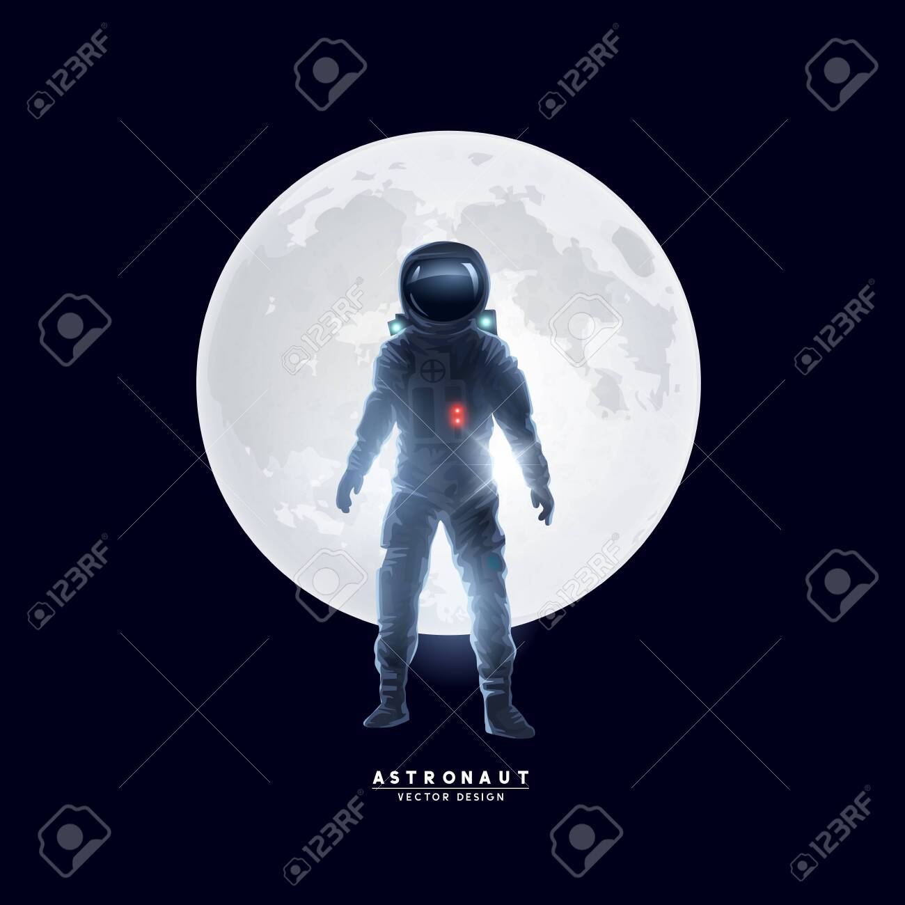 An astronaut spaceman stood in front of the moon. Vector illustration. - 124294974