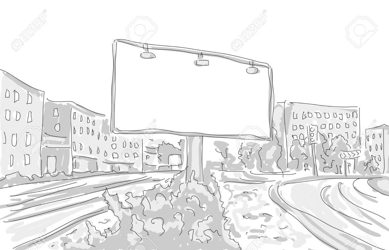 Billboard In The City Draw Graphic Design Vector Illustration