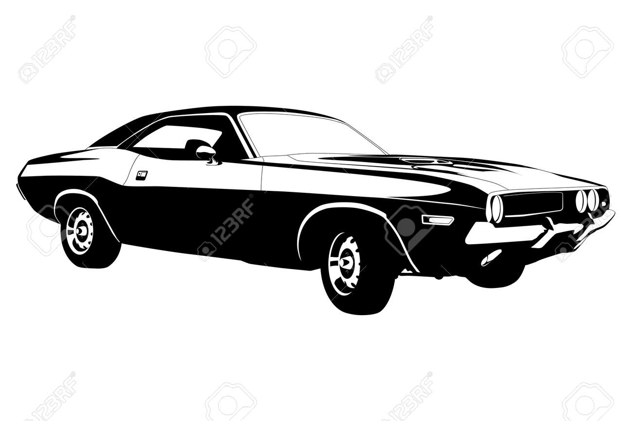 American Muscle Car Vector Illustration Royalty Free Cliparts