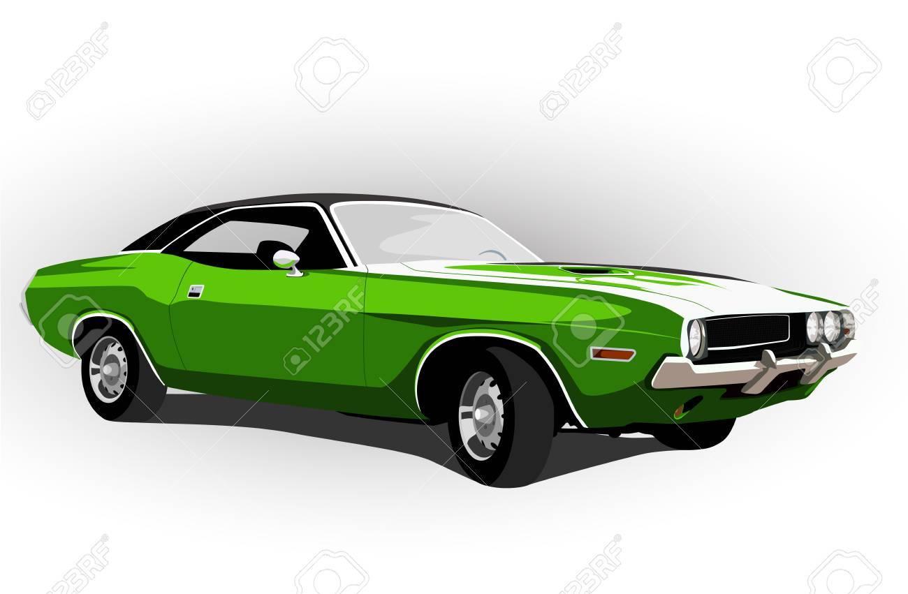 american muscle car grüne vektor-illustration lizenzfrei nutzbare