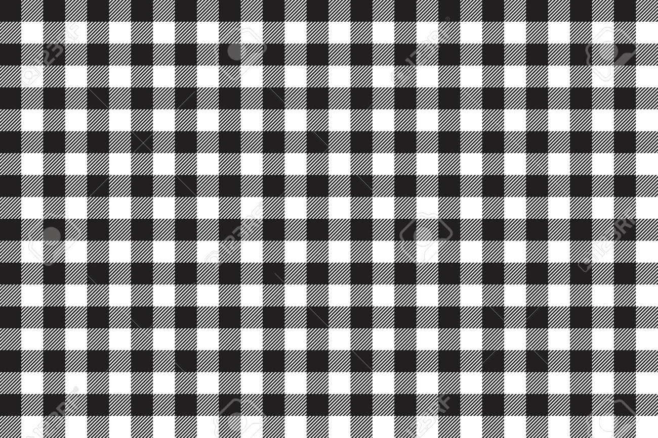 Marvelous Tablecloth Background Black Seamless Pattern. Vector Illustration Of  Traditional Gingham Dining Cloth With Fabric Texture