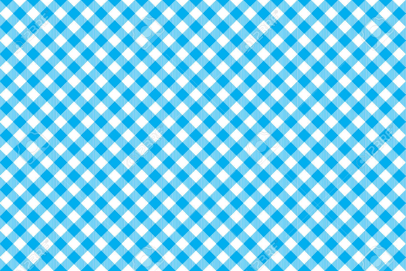 Blue tablecloth background - Blue Tablecloth Diagonal Background Seamless Pattern Vector Illustration Of Traditional Gingham Dining Cloth With Fabric