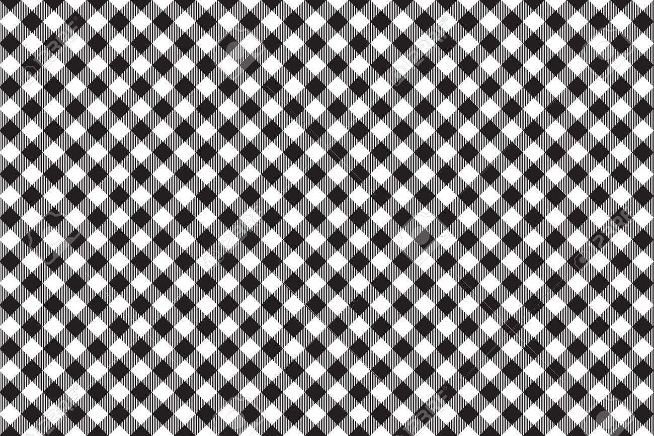 Black Tablecloth Diagonal Background Seamless Pattern. Vector Illustration  Of Traditional Gingham Dining Cloth With Fabric