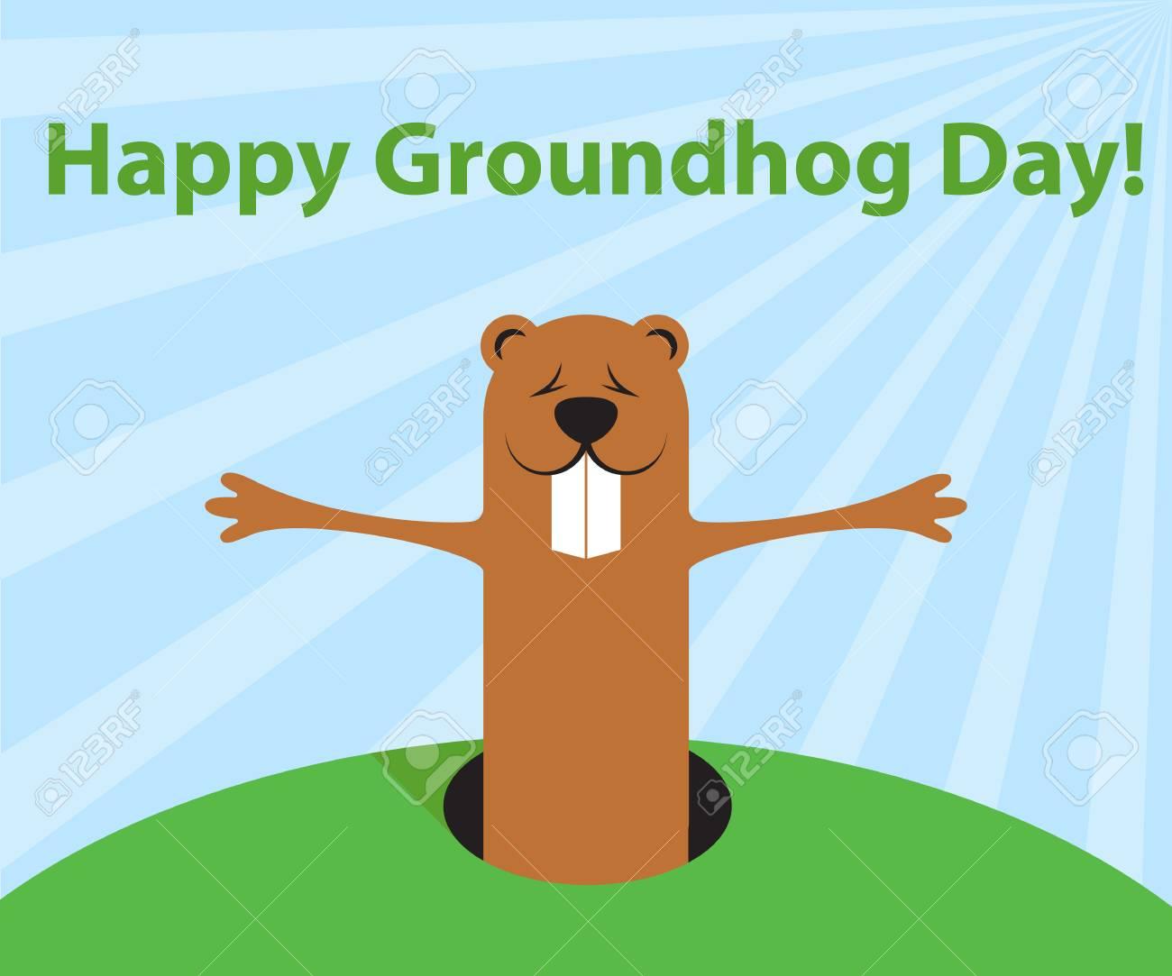 Personaje De Dibujos Animados Divertido Del Día De La Marmota De La