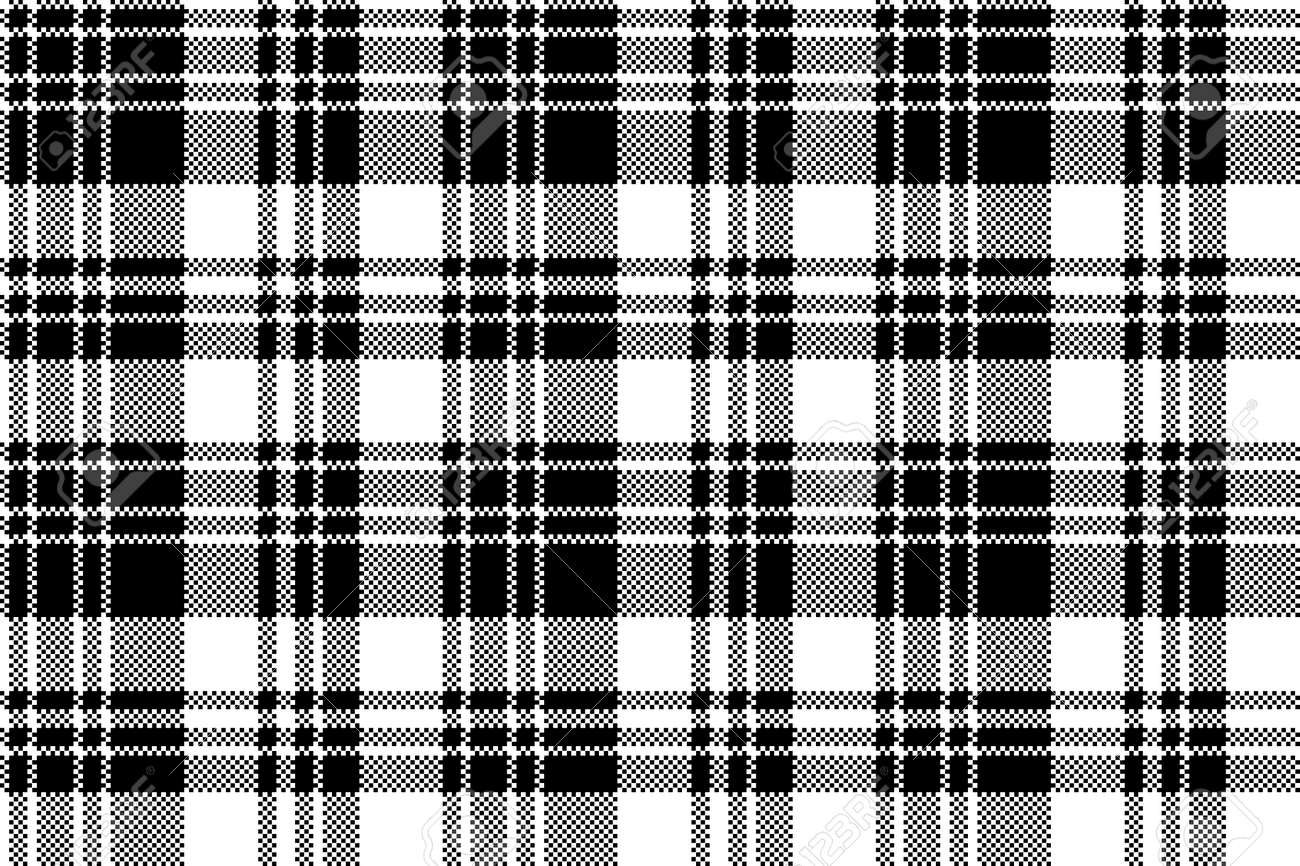 Pixel Check Fabric Texture Black White Seamless Pattern Vector