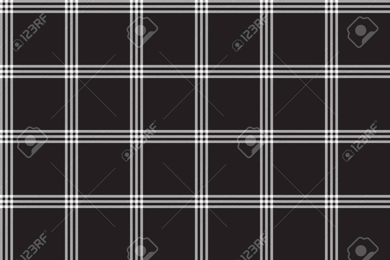 Black White Check Plaid Fabric Texture Seamless Pattern Vector