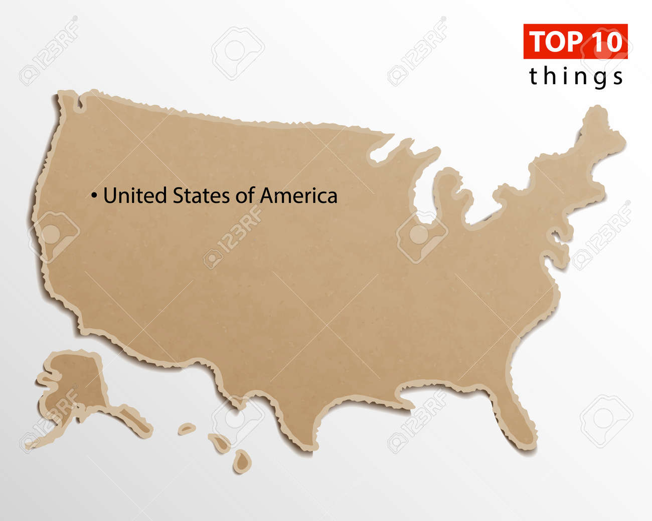 United States of America map vector  USA maps craft paper texture