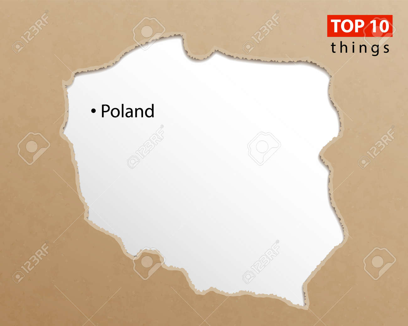 Poland map vector  Polish maps craft paper texture  Empty template