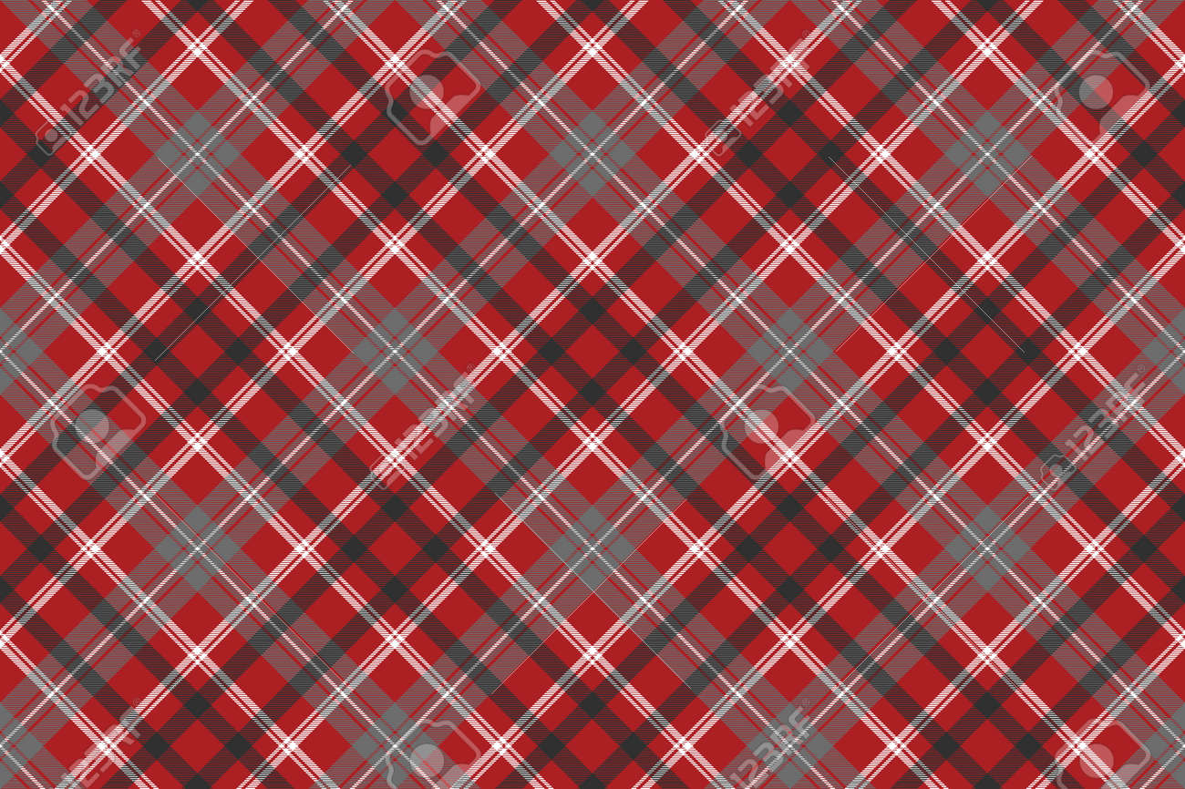 Red check plaid seamless fabric texture. Vector illustration. - 120525155