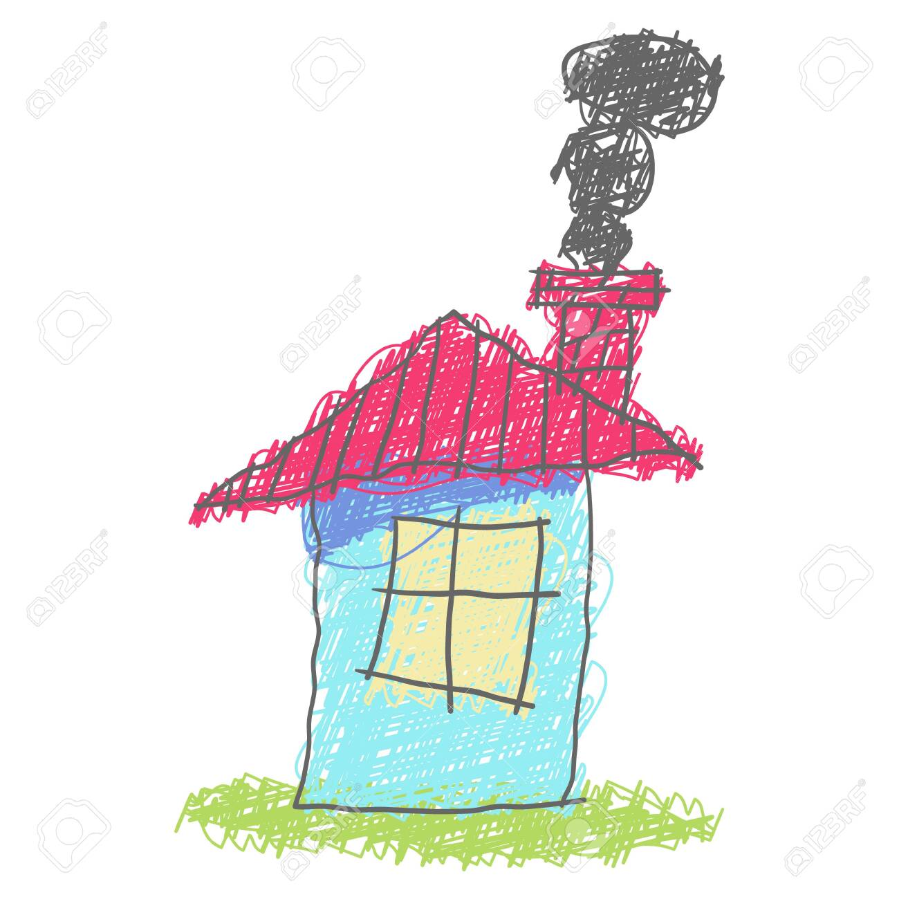 House exterior isolated on white background. Drawings of houses...