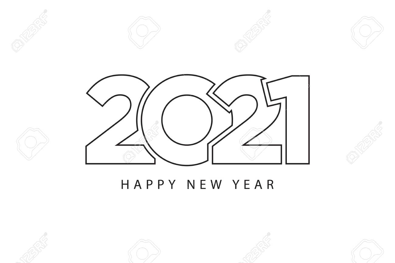 Simple Style Lines Happy New Year 2021 Black White Theme Vector Royalty Free Cliparts Vectors And Stock Illustration Image 140169211