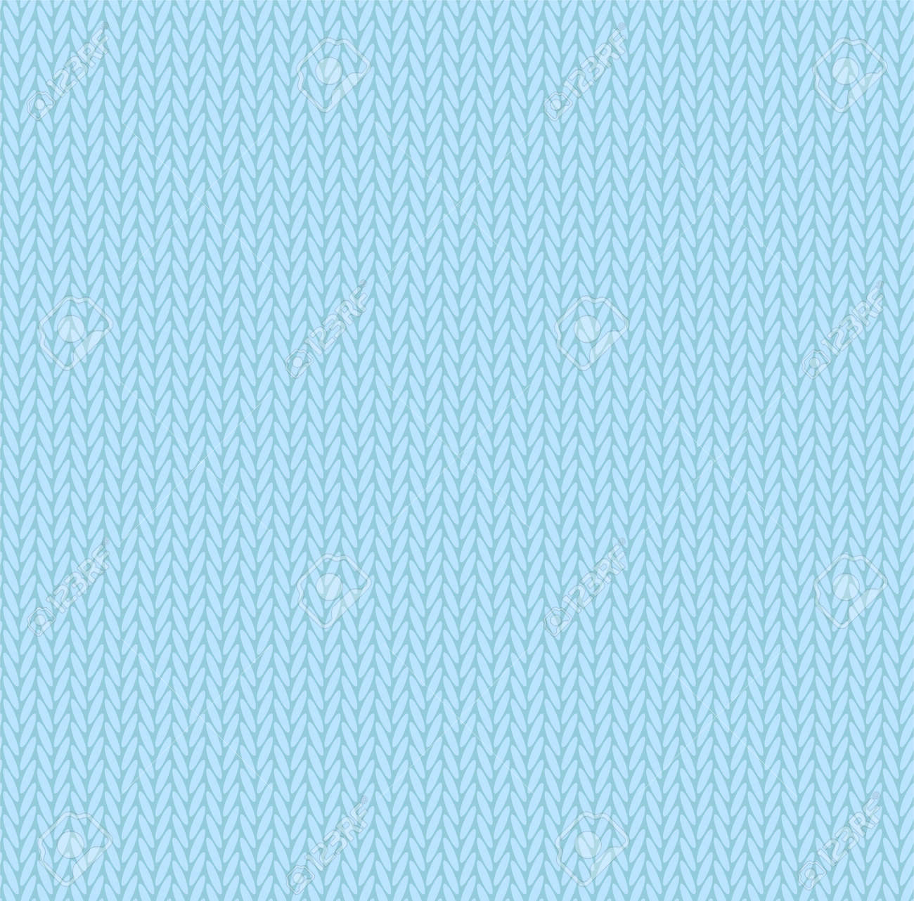 Knit texture sky blue color. Vector seamless pattern fabric. Knitting background flat design. - 155150714