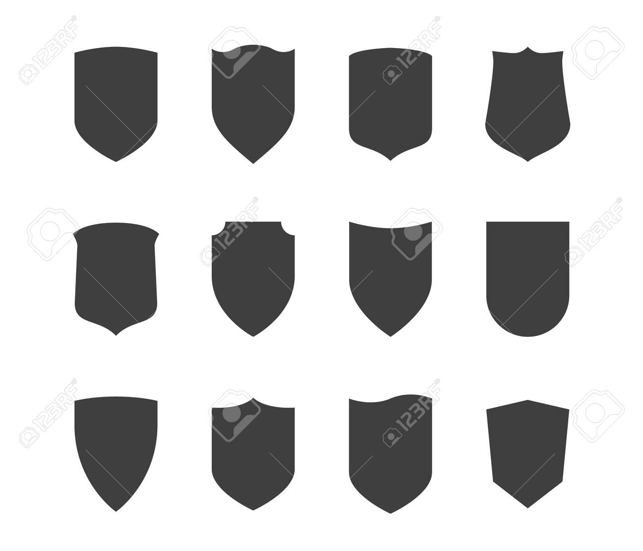 Shield icons set. Protection vector symbol. Black on white background. - 155585525
