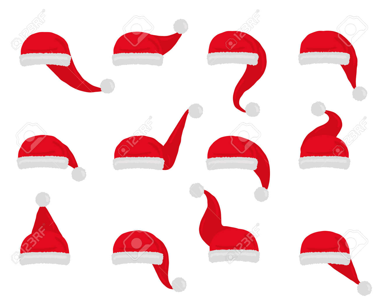 Santa hat vector. Set christmas red hats isolated on white. - 158568002